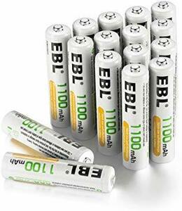 単4電池1100mAh 16本パック EBL 単4形充電池 充電式ニッケル水素電池 高容量1100mAh 16本入り 約120