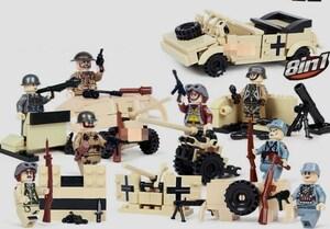 第二次世界大戦 8体 車両武器つきセット 戦争軍人軍隊マンミニフィグ LEGO 互換 ブロック ミニフィギュア レゴ 互換