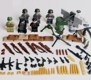 第二次世界大戦 ドイツ軍 武器つきセット 戦争軍人軍隊マンミニフィグ LEGO 互換 ブロック ミニフィギュア レゴ 互換