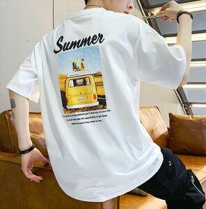 メンズ Tシャツ サマー白 新品 プリント 未使用 韓国ファッション ノーブランド ビックシルエット ロゴ レディース フリーサイズ NYC 半袖