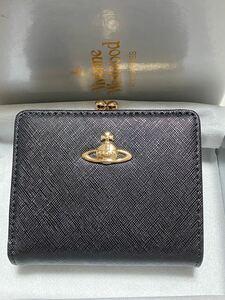 ヴィヴィアンウエストウッド 二つ折り がま口 財布 がまぐち コンパクト財布 黒☆