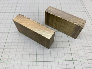 【2本セット】真鍮ブロック 60mm×30mm×15mm  真鍮板 黄銅板 【スマートレター180円】