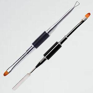新品 未使用 ステンレスジェルネイルツ-ル 2本セット N-VB 初心者 多用途… ネイル筆 両端UVジェル ネイルア-トブラシ 美容院 プロ
