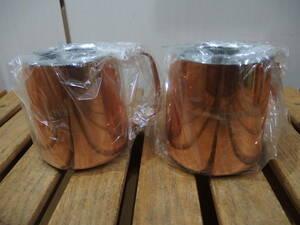 未使用 燕製 銅製 シンプルデザイン 2重構造 マグカップ 2客!