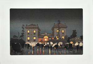 錦絵  開化期の絵師:小林清親  純手刷木版画  東京名所図会  「新橋ステンション」 ※額付き    正光画廊