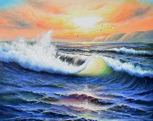 掘り出し油絵作品!  江口徹   6号  「鳥・海を飛ぶ」  *額付作品*      【正光画廊】