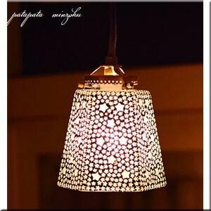 モザイク ハンギングランプ 六角 スター ホワイト ペンダントライト ペンダントランプ ステンドグラス