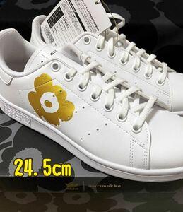 新品 おまけ マリメッコ adidas 24.5cm マリメッコ スタンスミス スニーカー 靴 STAN SMITH アディダス コラボ 限定 ゴールド ウニッコ