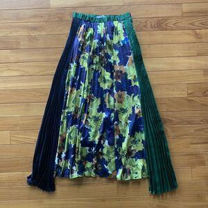 UN3D アンスリード アートフラワースカート プリーツ 36 花柄 シルク ロングスカート
