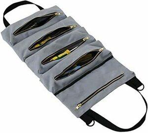 グレー HFS(R) ツールバッグ ロール 5つポケット 工具差し入れ 多目的ツールロール レンチロールポーチ ツールケース