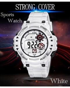 腕時計 スポーツ腕時計 デジタル時計 LEDライト ミリタリー スポーツ アウトドア ランニング アウトドア アクリルケース ホワイト 21