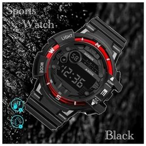スポーツ腕時計 腕時計 時計 デジタル式 LED デジタル腕時計 デジタル 自転車 スポーツ アウトドア キャンプ レッド  21