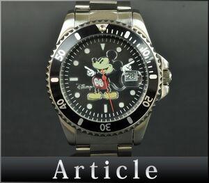 110507□電池交換済 Disney ディズニー ミッキー メンズウォッチ 腕時計 クォーツ デイト 日付 SS ラインストーン ブラック シルバー/ D