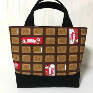 ペコちゃん(チョコレート黒) ハンドメイド トートバッグ
