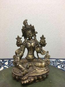 チベット仏教:密教仏教『グリーンターラ:チベット仏教』サイズ-横幅-9cm:高さ-14cm:奥行き-7cm: