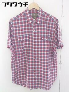 ◇ Timberland ティンバーランド チェック 半袖 シャツ サイズL レッド ブルー系 ホワイト メンズ