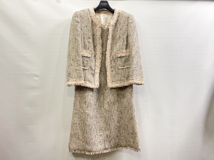 FOXEY フォクシー ツイード ジャケット ワンピーススーツ スカート グレー×ピンク サイズ40