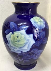 [ condition excellent ] Fukagawa Seiji vase blue ground rose gold paint flower vase flower raw .
