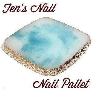 ネイル ストーン パレット ディスプレイ ジェルネイル 四角 ブルー 天然石風 アクセサリーパーツ