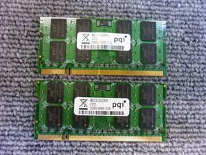 ■[返品返金可] pqi ノート用メモリ基板 DDR2-800S(PC2-6400) 2GB2枚組 動作未確認 中古品 複数入札可能 クリックポスト発送■