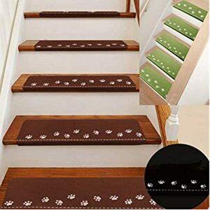 足跡/コーヒー 55㎝X22㎝ RAIN QUEEN 階段マット 蛍光 階段カーペットマット 足跡 防音 キズ防止 滑り止めマッ