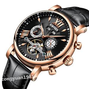 【1円~】新品 メンズ腕時計 43mm 高級機械式 自動巻き カレンダー 年月 曜日表示 トゥールビヨン 本革ベルト 紳士ウォッチ 防水 R/B