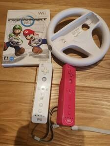 Wii マリオカート と コントローラー2つ と ハンドル セット