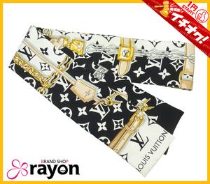 《1円~START》ルイ・ヴィトン バンドー・モノグラム コンフィデンシャル スカーフ ノワール シルク M78656 レディース Bランク【RAYON】