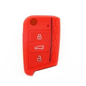 【送料込】シリコン製スマートキーケース 赤 VWフォルクスワーゲンゴルフ・ ポロ用 1