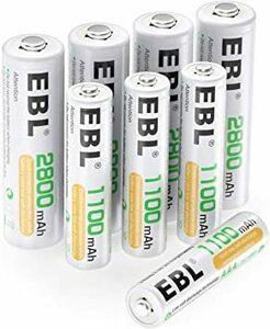 ★残り1点★単3電池2800mAh×4本+単4電池1100mAh×4本 EBL 単三・単四電池セット 単3電池 充電式 280