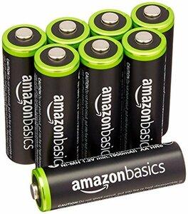 ★残り1点★ベーシック 充電池 充電式ニッケル水素電池 単3形8個セット (最小容量1900mAh、約1000回使用可能)