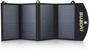 【最後1点】suaoki 25wソーラーチャージャー 変換効率25% ソーラーパネル4枚搭載 2USBポート 防水 USB自動検知機能搭載 軽量
