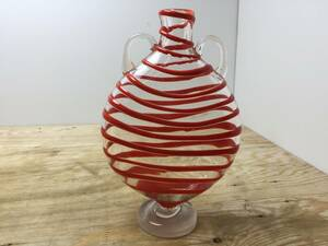 * vase antique * red red color that time thing retro flower go in flower vase details unknown interior [ used / present condition goods ]