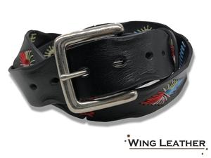 新品 イタリアンレザー ベルト メンズ レディース 本革 カジュアル 牛革 レザー 刺繍 手縫い ステッチ カラフル 黒色 シンプル GTC025BK