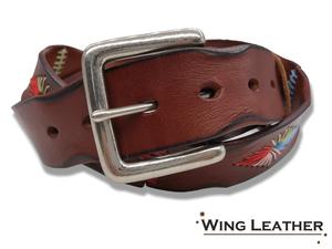 新品 イタリアンレザー ベルト メンズ 本革 カジュアル 牛革 レザー 刺繍 手縫い ステッチ カラフル 茶色 シンプル GTC025BR