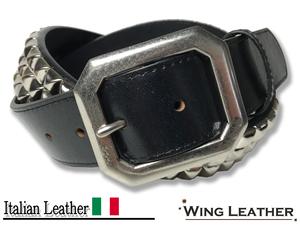 新品 イタリアンレザー カジュアルベルト スタッズ メタルスクエア 牛革 本革 レザー メンズ 黒 パンク ロック V系 GTC011 BLACK