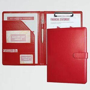 新品 未使用 バインダ-A4 クリップボ-ド J-6D 事務用品 (赤) フォルダ 二つ折りPU 会議パッドクリップファイル