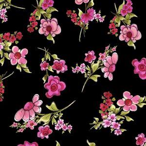 90*USAコットン ロラライハリス Jumbo Floral 黒 ハンドメイド ソーイング 輸入生地 布地
