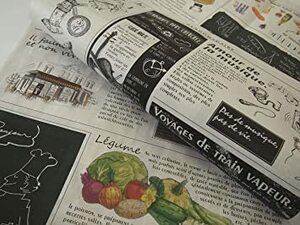 カラー/モノクロ 包装紙 おしゃれ フランス新聞紙風 25枚入