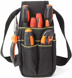 限定価格!黒 【改良版】hush-husu den 腰袋 工具入れ 腰道具 工具袋 工具バック 工具バッグ ベルトポーチ T5VD
