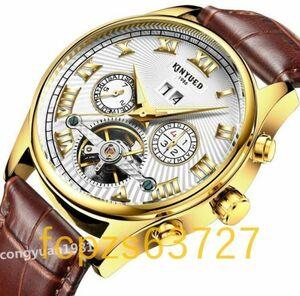 Ou003: 高級男性腕時計 機械式自動巻 43mm カレンダー 曜日表示 トゥールビヨン 本革ベルト 文字盤 メンズウォッチ 紳