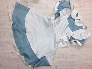 EVA コスプレ 衣装 アリス メイド服 ラウンドカラー パフスリーブ エプロン+半袖ワンピース 2点セット まとめて レディース 裏地付き 水色