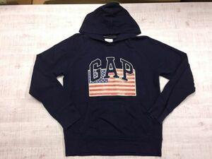 ギャップ GAP 定番ビッグロゴ刺繍 アメリカ国旗 星条旗 前V字ガゼット スウェットパーカー メンズ M 紺