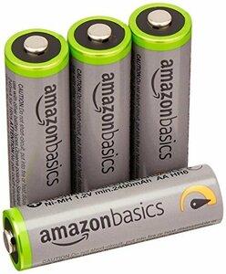 高容量単3形4個パック Amazonベーシック 充電池 高容量充電式ニッケル水素電池単3形4個セット (充電済み、最小容量 24