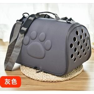 キャリーバッグ 折りたたみ式 小型犬 猫用キャリー ペット用品 グレー ペット用品