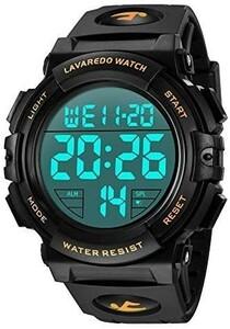 新品◎腕時計◆メンズ◆デジタル◆スポーツ◆50メートル防水◆おしゃれ◆多機能◆LED表示◆アウトドア◆腕時計(ゴールド)