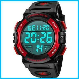 【最安】★色:3-レッド★ 腕時計 メンズ デジタル スポーツ NNAJI 50メートル防水 おしゃれ 多機能 LED表示 アウトドア 腕時計(レッド)