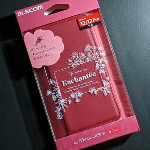iPhone12・12Pro 手帳型ケース ミラー付き レッド