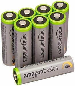高容量単3形8個パック Amazonベーシック 充電池 高容量充電式ニッケル水素電池単3形8個セット (充電済み、最小容量 24