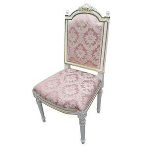 大特価!ロココ調プリンセス姫系ホワイトウッド枠ピンクのダイニングチェア 姫系ピンクのダイニングチェア椅子